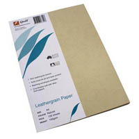 QUILL BINDING COVER LEATHERGRAIN A4 PAPER NATURAL PAPER PACK 100