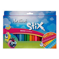 ARTLINE STIX BRUSH MARKER ASSORTED PACK 20