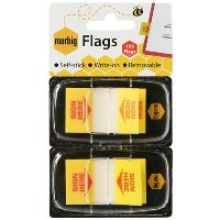 MARBIG FLAGS POP-UP SIGN HERE 50 FLAGS 25 X 44MM YELLOW PACK 2