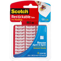 SCOTCH R100 REUSABLE SQUARE TABS 25.4 X 25.4MM PACK 18