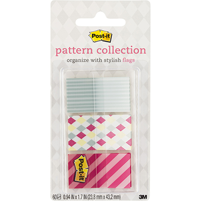 POST-IT 682-CANDY PATTERN FLAGS CANDY COLLECTION ASSORTED PACK 60