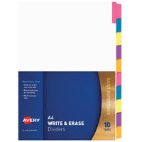 AVERY 85601 DIVIDER REWRITABLE 10 TAB A4 MULTI COLOURED