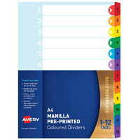 AVERY 88712 DIVIDER PLASTIC 1-12 INDEX TAB A4 RAINBOW