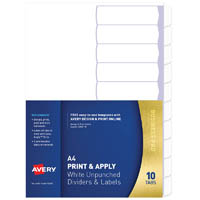 AVERY 930161 L7455-10 DIVIDER UNPUNCHED PRINT & APPLY 1-10 TAB A4 WHITE