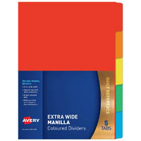 AVERY 97565 DIVIDER MANILLA EXTRA WIDE 5 TAB A4 BRIGHT MULTI COLOURED