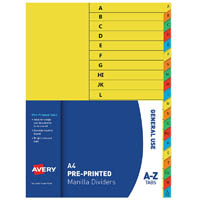AVERY 97575 DIVIDER MANILLA A-Z TABS A4 BRIGHT MULTI COLOURED
