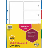 MARBIG DIVIDER 5-TAB A3 ASSORTED