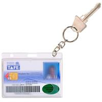 REXEL FUEL/CREDIT CARD HOLDER WITH 25MM KEY RING CLEAR PACK 10