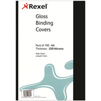 REXEL BINDING COVER 250 MICRON A4 GLOSS BLACK PACK 100