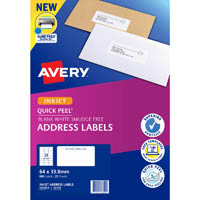 AVERY 936054 J8159 QUICK PEEL ADDRESS LABEL WITH SURE FEED INKJET 24UP WHITE PACK 25