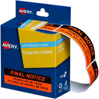AVERY 937260 MESSAGE LABELS FINAL NOTICE 19 X 64MM BOX 125