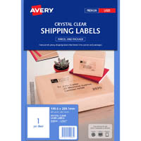 AVERY 959065 L7567 CRYSTAL CLEAR ADDRESS LABEL LASER 1UP CLEAR PACK 25