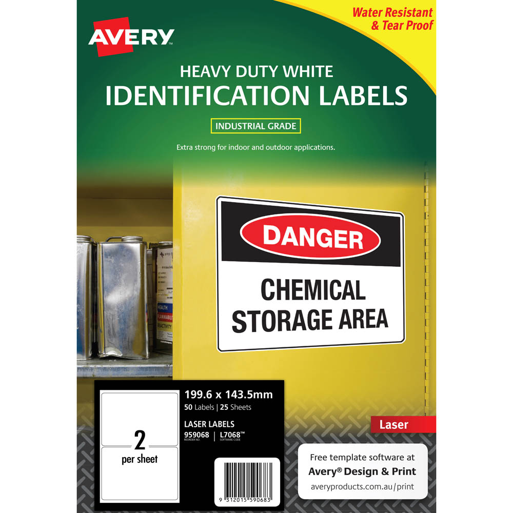 Image for AVERY 959068 L7068 HEAVY DUTY LASER LABELS 2UP WHITE PACK 25 from Surry Office National