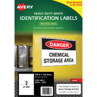 AVERY 959068 L7068 HEAVY DUTY LASER LABELS 2UP WHITE PACK 25