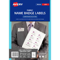 AVERY 959171 L7418 FABRIC NAME LABELS 8UP 86.5 X 55.5MM PACK 15