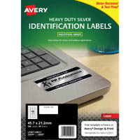 AVERY 959201 L6009 HEAVY DUTY LASER LABELS SILVER 48UP PACK 20