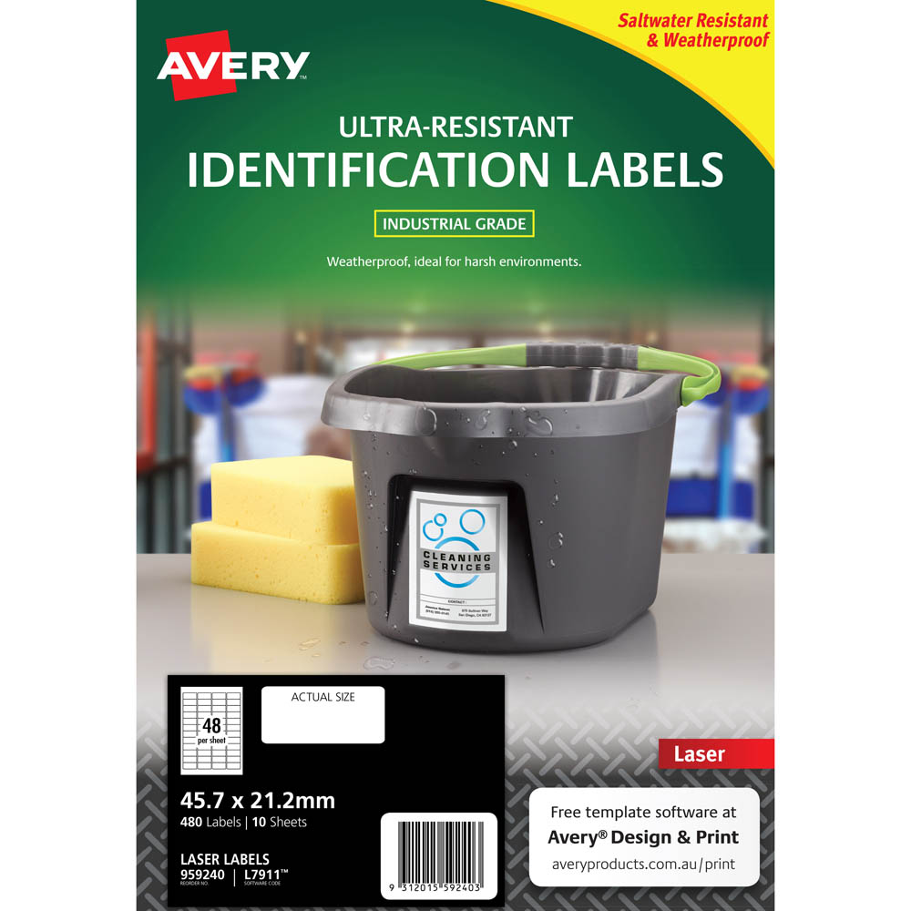 Image for AVERY 959240 ULTRA-RESISTANT OUTDOOR LABELS 45.7 X 21.2MM WHITE PACK 10 from PaperChase Office National
