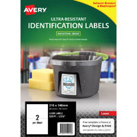 AVERY 959245 ULTRA-RESISTANT IDENTIFICATION LABELS 210 X 148MM WHITE PACK 10