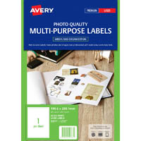 AVERY 959767 L7767 PHOTO QUALITY MULTI-PURPOSE LABEL LASER 1UP GLOSS WHITE PACK 25