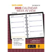 DEBDEN 2020 DAYPLANNER PERSONAL EDITION REFILL WEEK TO VIEW 6 RING