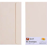 QUILL DL COLOURED ENVELOPES CREAM PACK 25