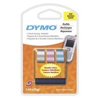 DYMO LETRATAG LABEL TAPE 12MM METALLIC MULTI PACK 3
