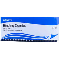 INITIATIVE PLASTIC BINDING COMB 10MM 65 PAGE CAPACITY A4 BLACK BOX 100