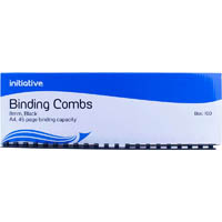 INITIATIVE PLASTIC BINDING COMB 8MM 45 PAGE CAPACITY A4 BLACK BOX 100