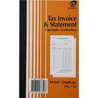 OLYMPIC NO.724 INVOICE AND STATEMENT BOOK CARBONLESS DUPLICATE 50 LEAF 200 X 125MM