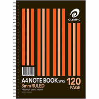 OLYMPIC SP95 NOTEPAD SPIRAL BOUND 8MM RULED 120 PAGE A4 WHITE