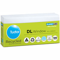 TUDOR DL ENVELOPES 60% RECYCLED WINDOWFACE SECRETIVE PEAL N SEAL 110 X 220MM WHITE TRAY 100