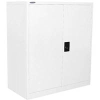 STEELCO STATIONERY CUPBOARD 2 SHELVES 1015 X 914 X 436MM WHITE SATIN