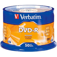 VERBATIM DVD-R 4.7GB 16X SPINDLE PACK 50
