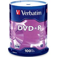 VERBATIM DVD+R 4.7GB 16X WHITE PRINTABLE PACK 100