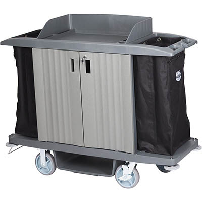 Image for COMPASS HARD FRONT HOUSEKEEPING TROLLEY WITH DOORS GREY from Our Town & Country Office National