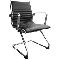 YS DESIGN COGRA CANTILEVER CHAIR LEATHER PU BLACK