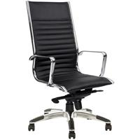 YS DESIGN COGRA OFFICE CHAIR HIGH BACK LEATHER BLACK